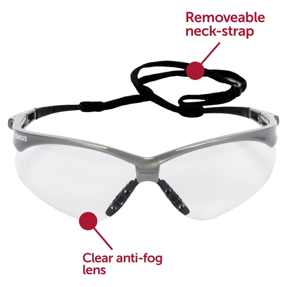 KleenGuard™ V30 Nemesis Safety Glasses (47388), Clear Anti-Fog Lens with Silver Frame, 12 Pairs / Case - 47388