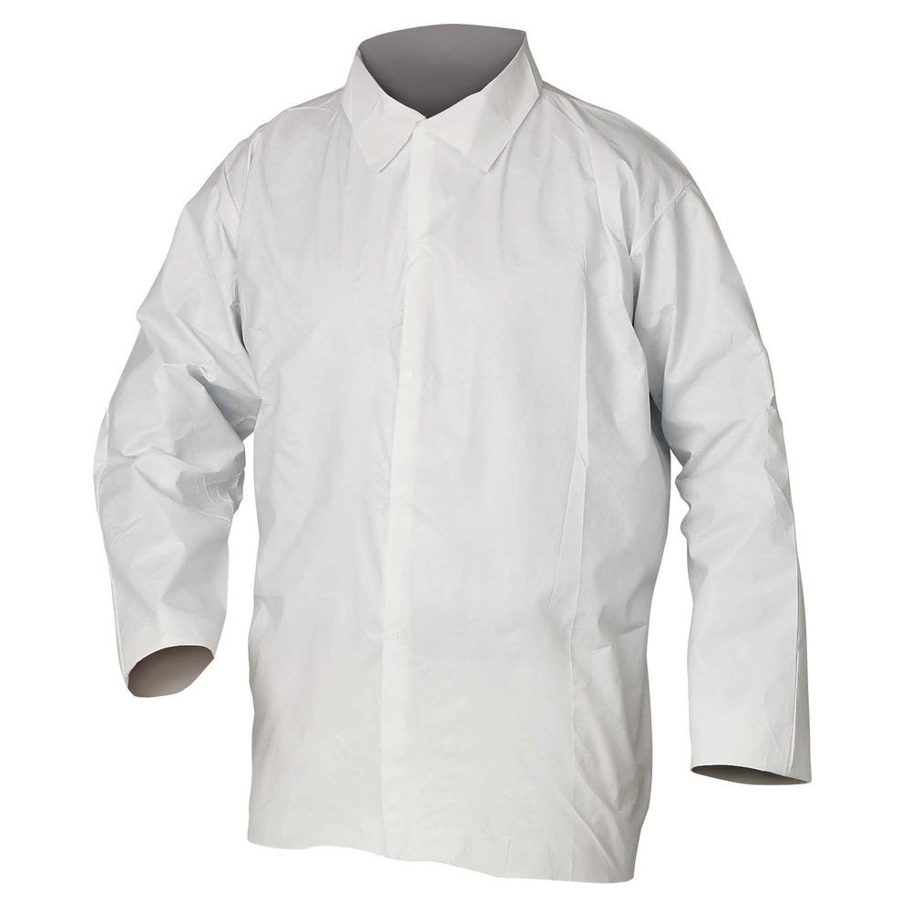 KleenGuard™ A40 Liquid & Particle Protection Shirts (44404), Snap Front, Open Wrists, White, XL, 50 Garments / Case - 44404