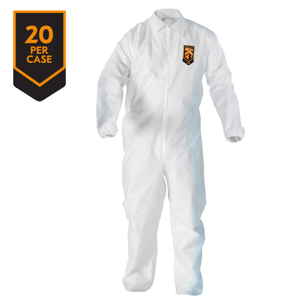KleenGuard™ A20 Breathable Particle Protection Coveralls (49107), REFLEX Design, Zip Front, EWA, Elastic Back, White, 4XL, 20 / Case - 49107
