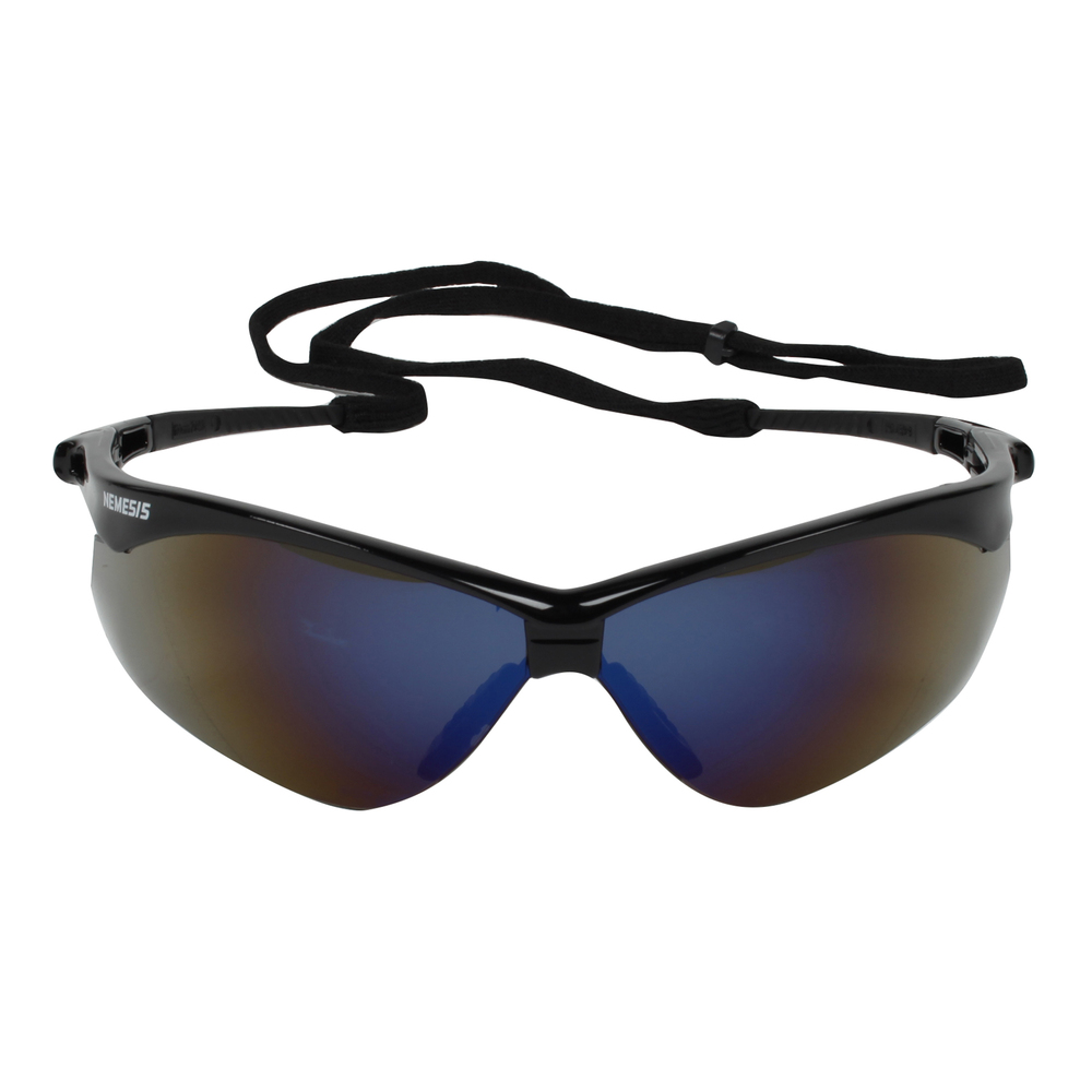 KleenGuard™ Nemesis CSA Safety Glasses (20382), CSA Certified, Blue Mirror Lens with Black Frame, 12 Pairs / Case - 20382