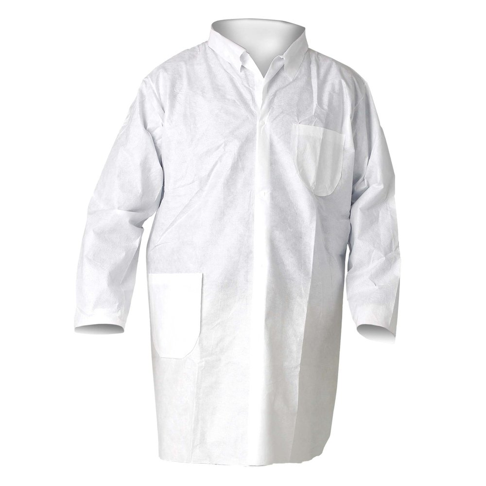 KleenGuard™ A20 Breathable Particle Protection Lab Coats (40049), 4 Snap Closure, Knee Length, White, 2XL, 25 / Case - 40049