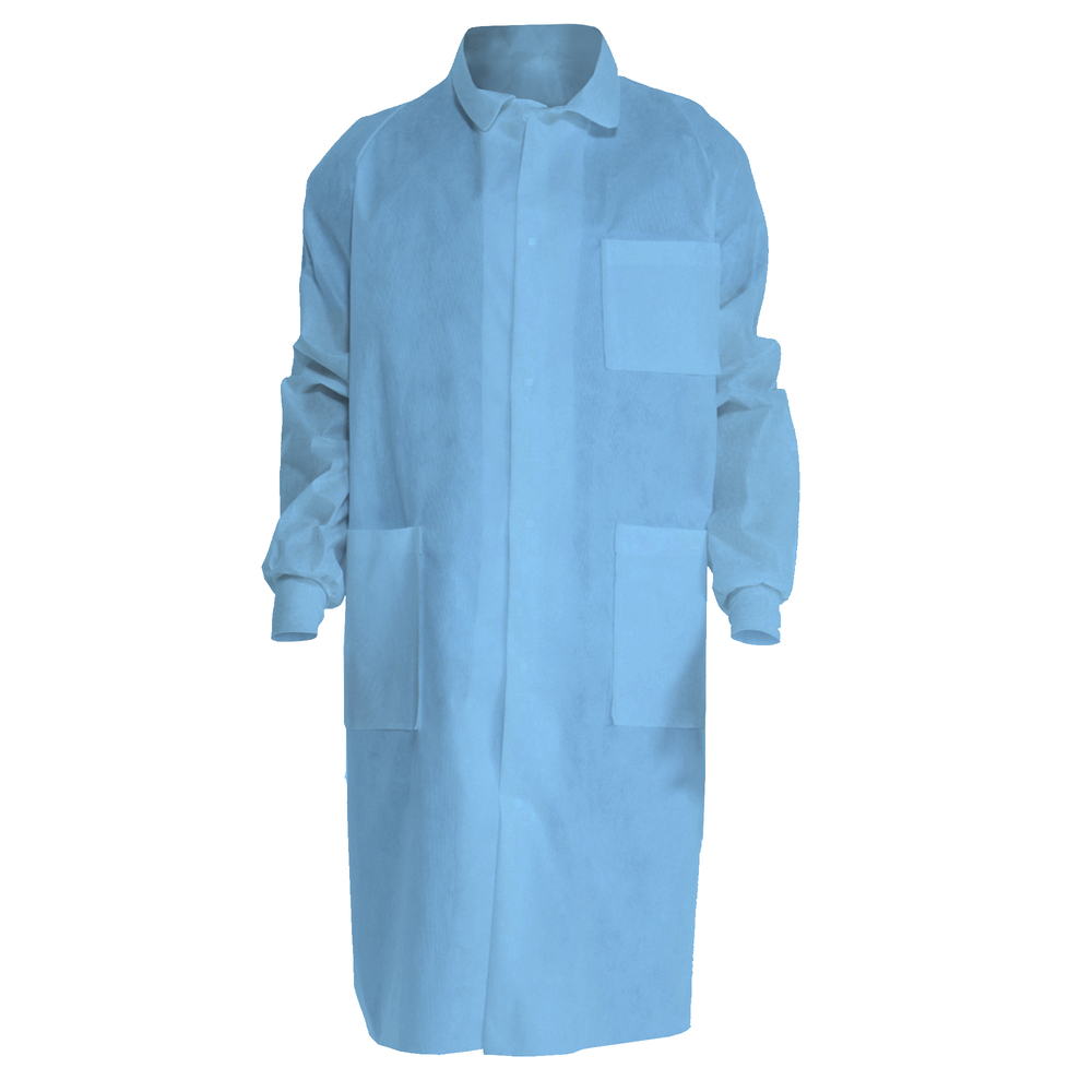 Kimtech™ A8 Certified Lab Coats with Knit Cuffs + Extra Protection (10047), Protective 3-Layer SMS Fabric, Back Vent, Unisex, Blue, Large, 25 / Case - 10047