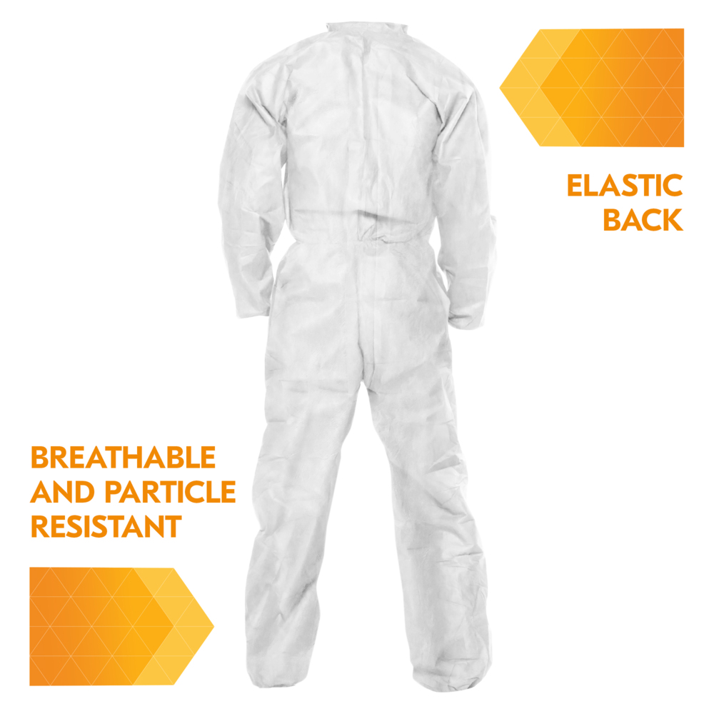 KleenGuard™ A20 Breathable Particle Protection Coveralls (49102), REFLEX Design, Zip Front, EWA, Elastic Back, White, Medium, 24 / Case - 49102