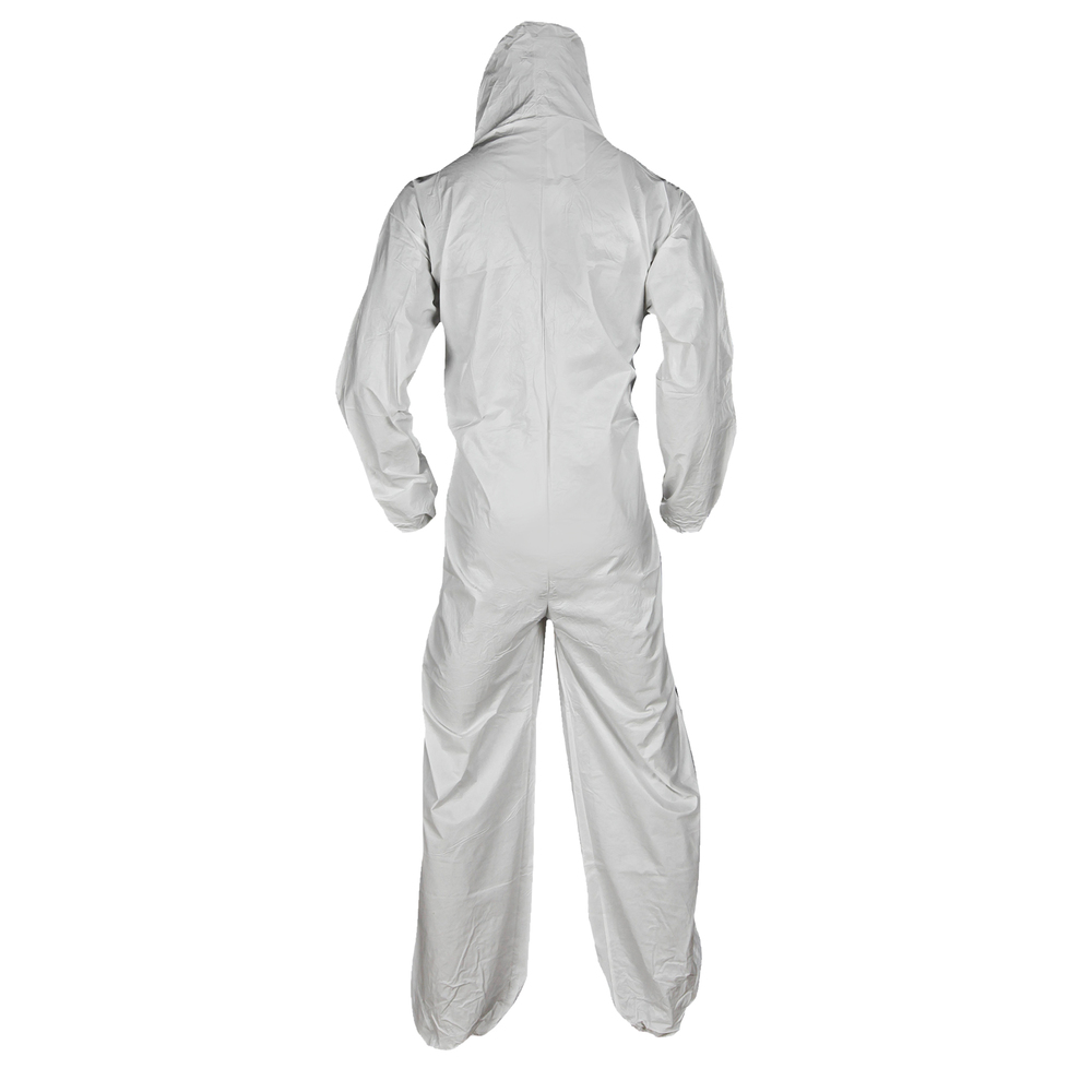 KleenGuard™ A10 Light Duty Coveralls (12231), Zip Front, Elastic Wrists, Hood, Breathable Material, White, Large, 25 / Case - 12231