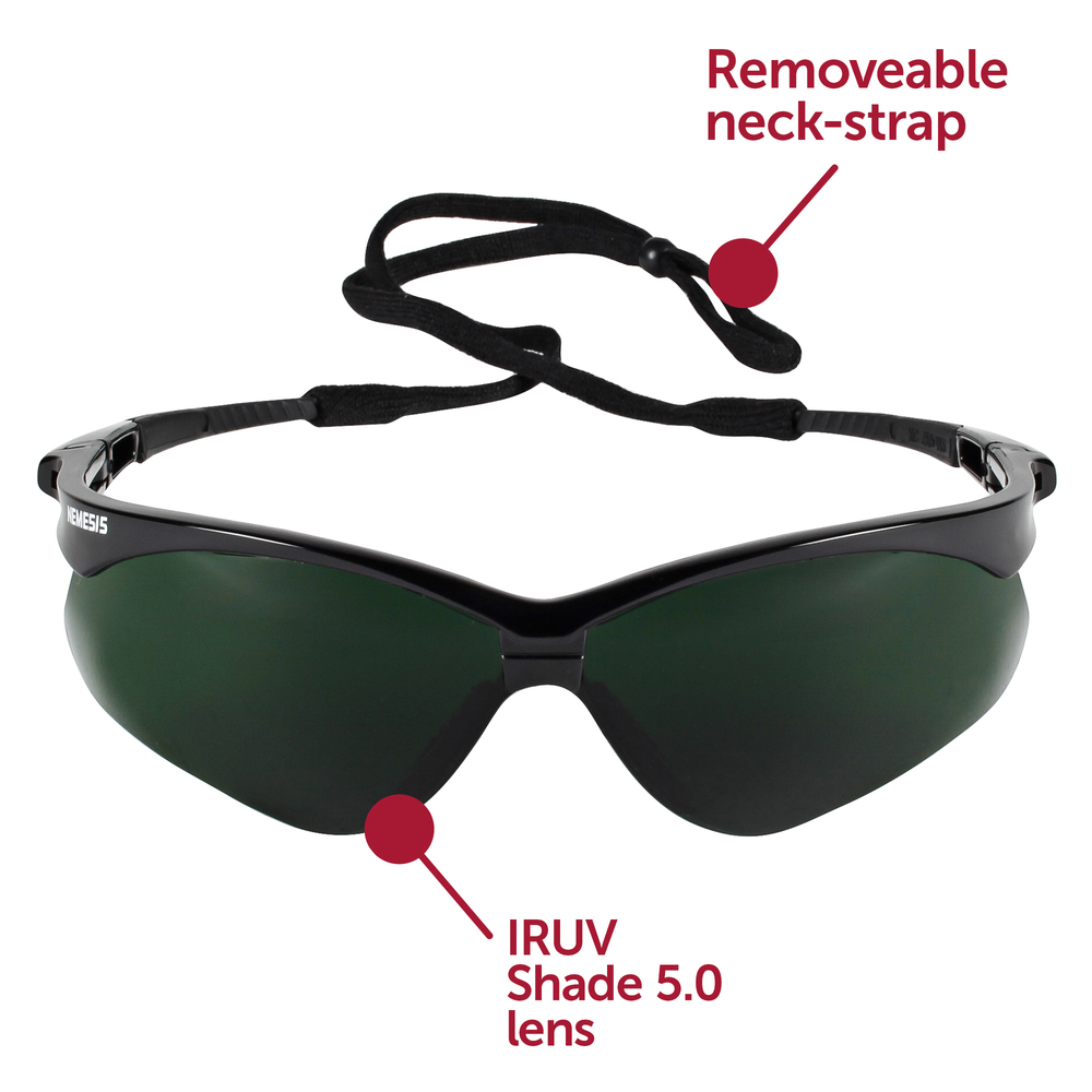 KleenGuard™ V30 Nemesis Safety Glasses (25671), IRUV Shade 5.0 Lenses with Black Frame, 12 Pairs / Case - 25671