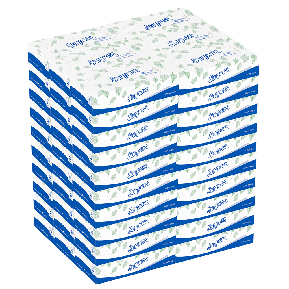 Surpass® Facial Tissue Flat Box (21390), 2-Ply, White, Unscented, 125 Tissues / Box, 60 Boxes / Big Case