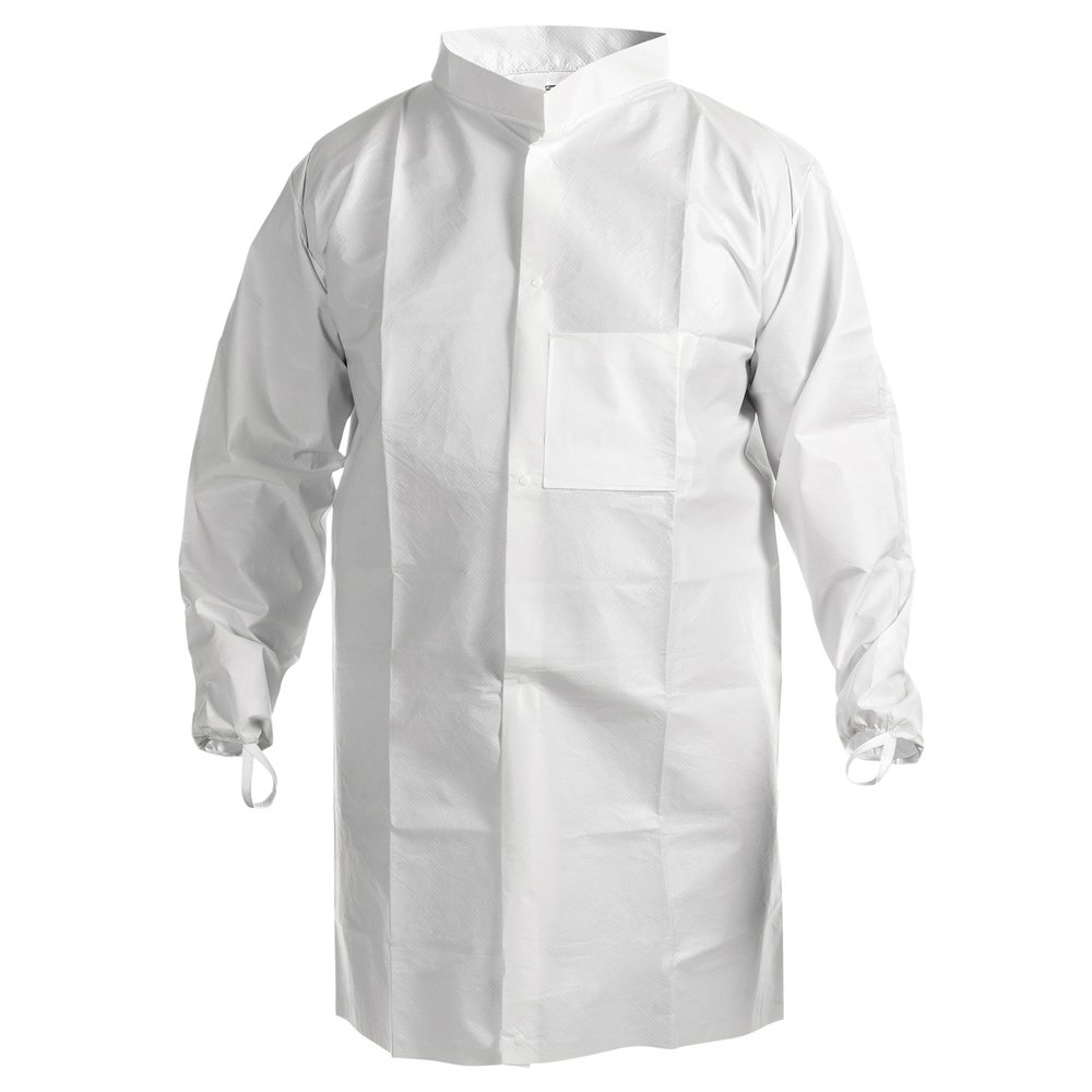 Kimtech™ A7 Cleanroom Lab Coat (47656), High Collar, Thumb Loops, Splash Protection, Anti-Static, Double Bag, 4XL, 30 / Case - 47656