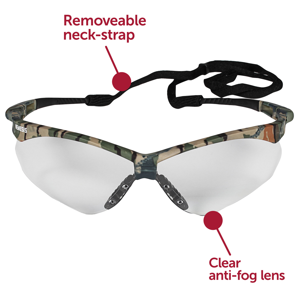 KleenGuard™ V30 Nemesis Safety Glasses (22608), Clear Anti-Fog Lens, Camo Frame, 12 Pairs / Case - 22608