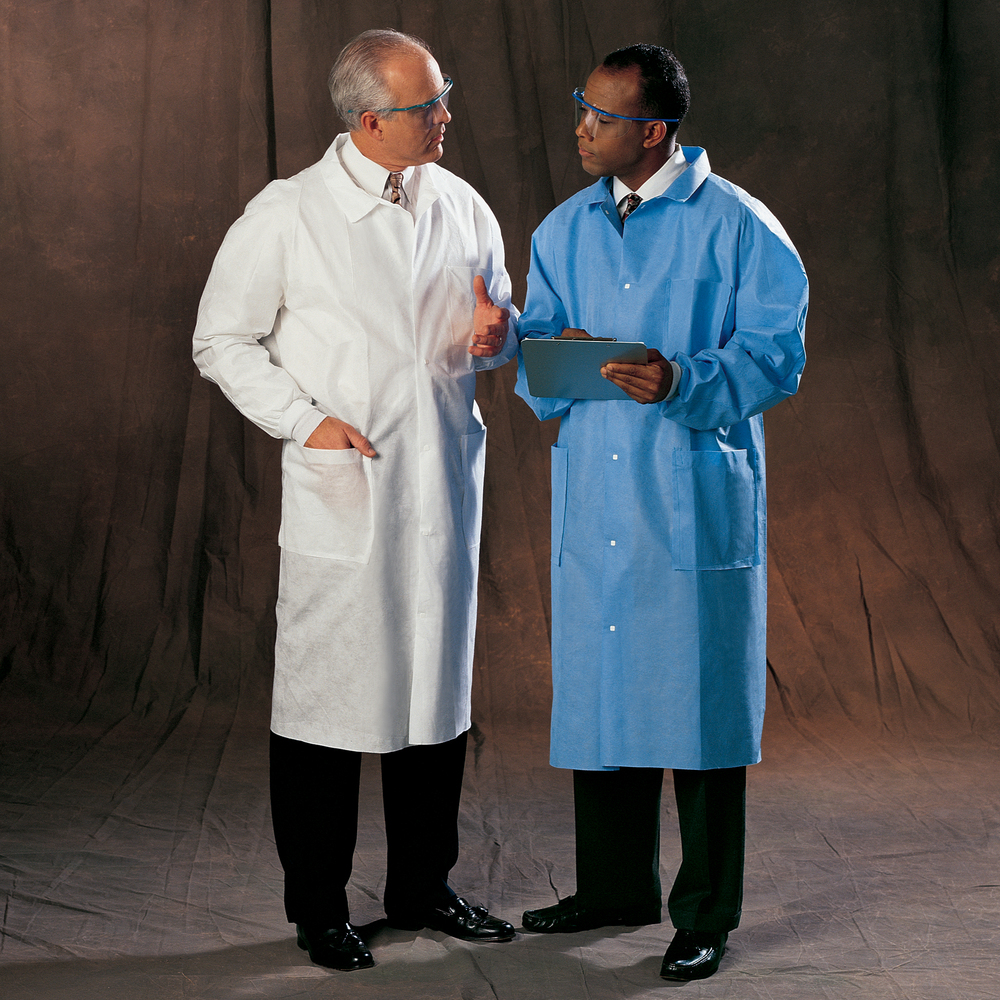 Kimtech™ A8 Certified Lab Coats with Knit Cuffs + Extra Protection (10045), Protective 3-Layer SMS Fabric, Back Vent, Unisex, Blue, Small, 25 / Case - 10045