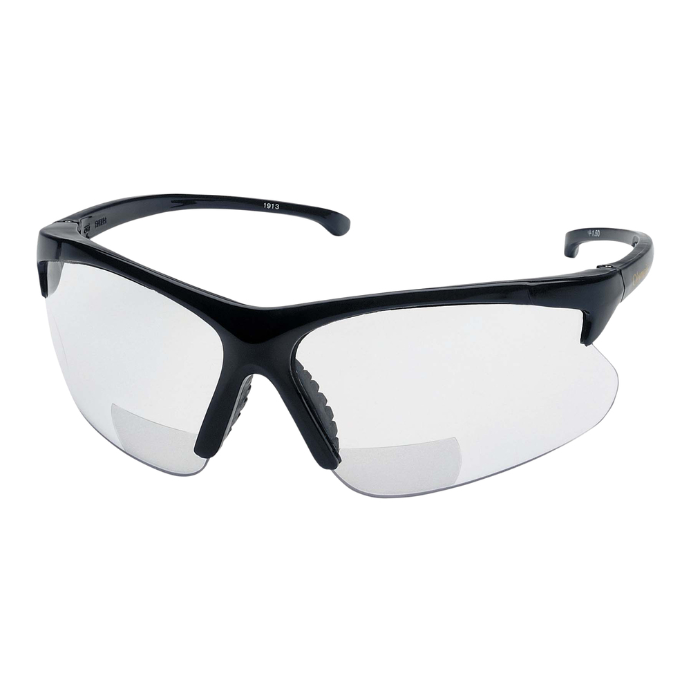 KleenGuard™ V60 30-06 Readers Safety Sunglasses (19876), Clear Readers with +1.0 Diopters, Black Frame, 6 Pairs / Case - 19876