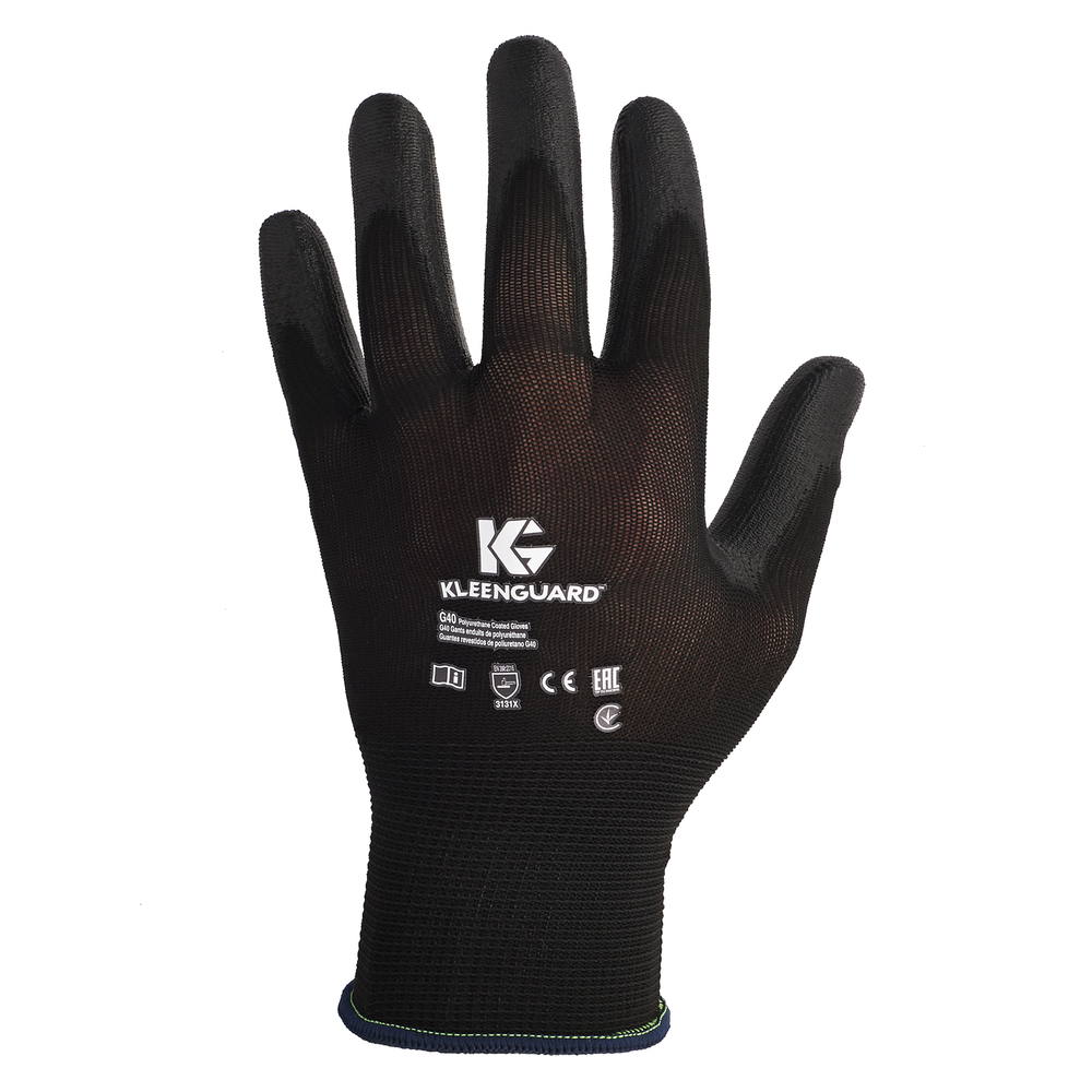 KleenGuard™ G40 Polyurethane Coated Gloves (13837), Size 7.0 (Small), High Dexterity, Black, 12 Pairs / Bag, 5 Bags / Case, 60 Pairs - 13837