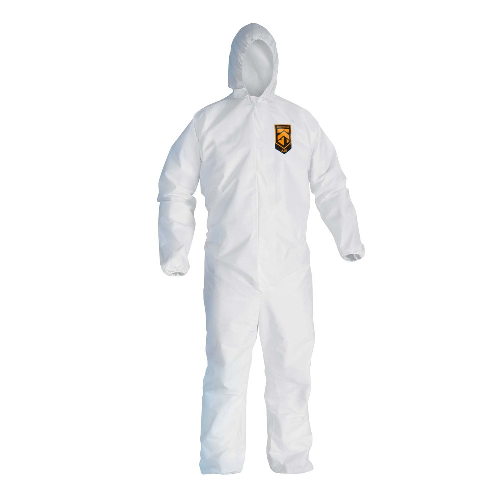KleenGuard™ A20 Breathable Particle Protection Hooded Coveralls (49116), REFLEX Design, Zip Front, Elastic Wrists & Ankles, White, 3XL, 20 / Case - 49116