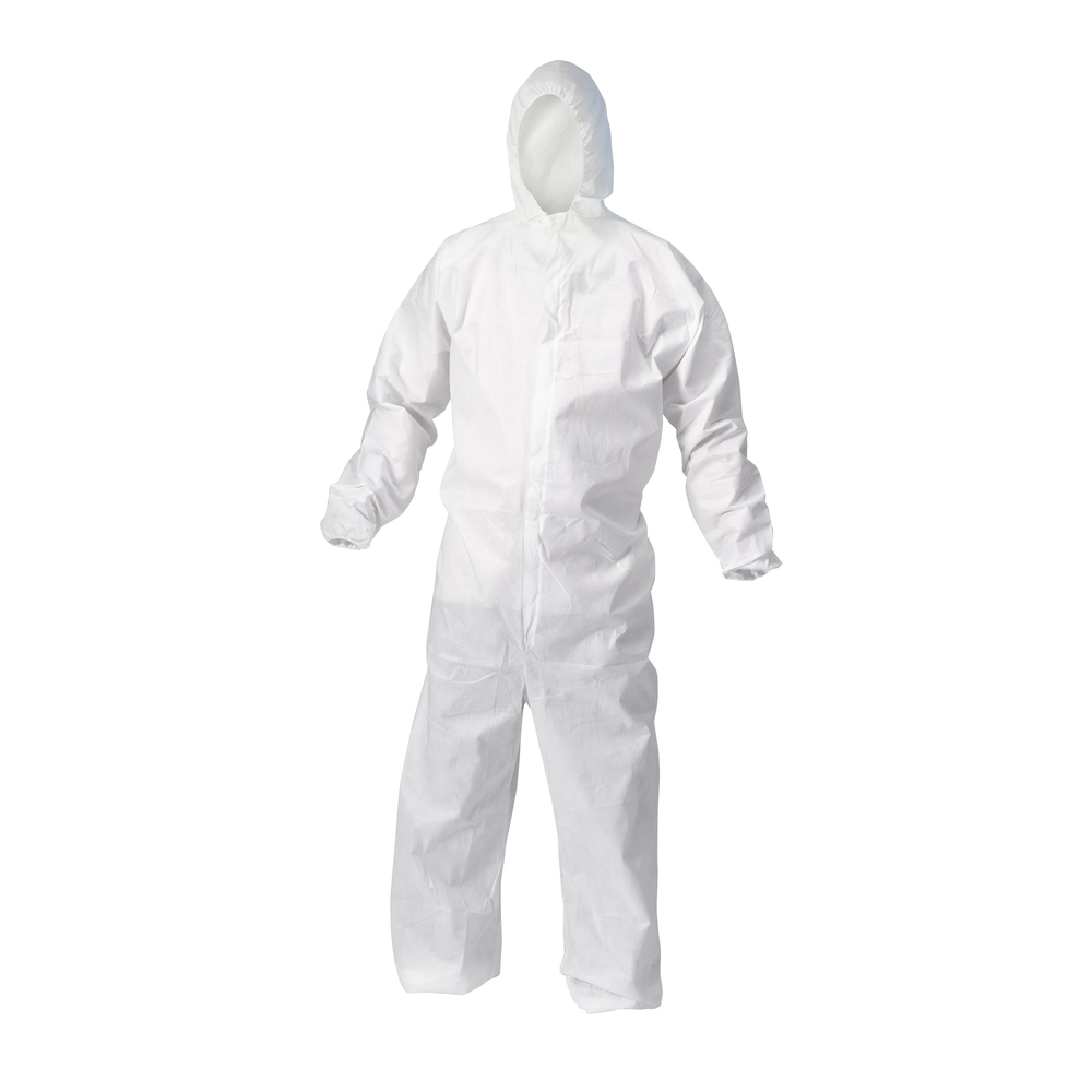 KleenGuard™ A10 Light Duty Coveralls (12230), Zip Front, Elastic Wrists, Hood, Breathable Material, White, 4XL, 25 / Case - 12230