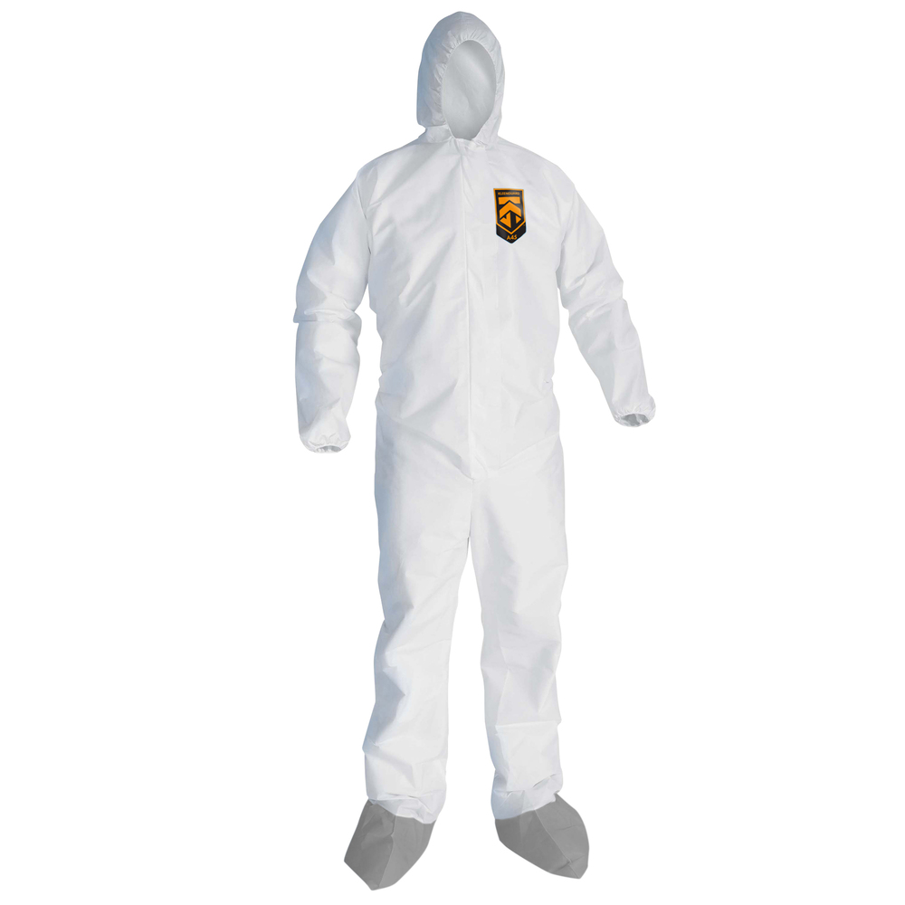 KleenGuard™ A45 Liquid & Particle Surface Prep & Paint Protection Coveralls (48977), Hood, New Skid-Resistant Boots, EWA, Reflex Design, Zip Front, White, 4XL, 25 / Case - 48977
