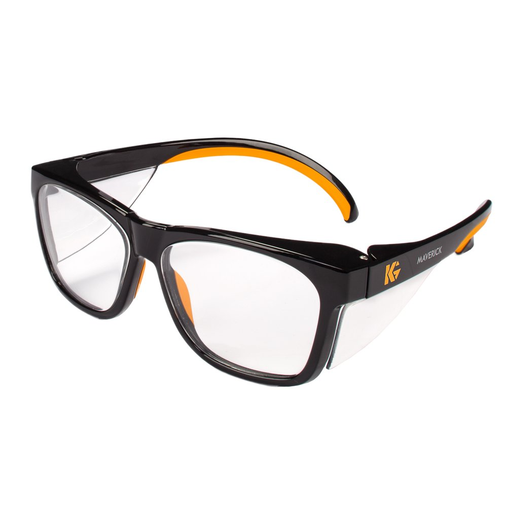 KleenGuard™ Maverick Eye Protection, (49312), Clear Anti-Glare Lenses with Black Frame and Orange Tips, 12 Pairs / Case - 49312