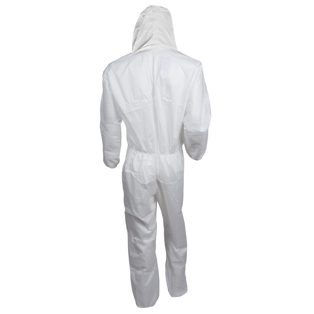 KleenGuard™ A20 Breathable Particle Protection Hooded Coveralls (49115), REFLEX Design, Zip Front, Elastic Wrists & Ankles, White, 2XL, 24 / Case - 49115