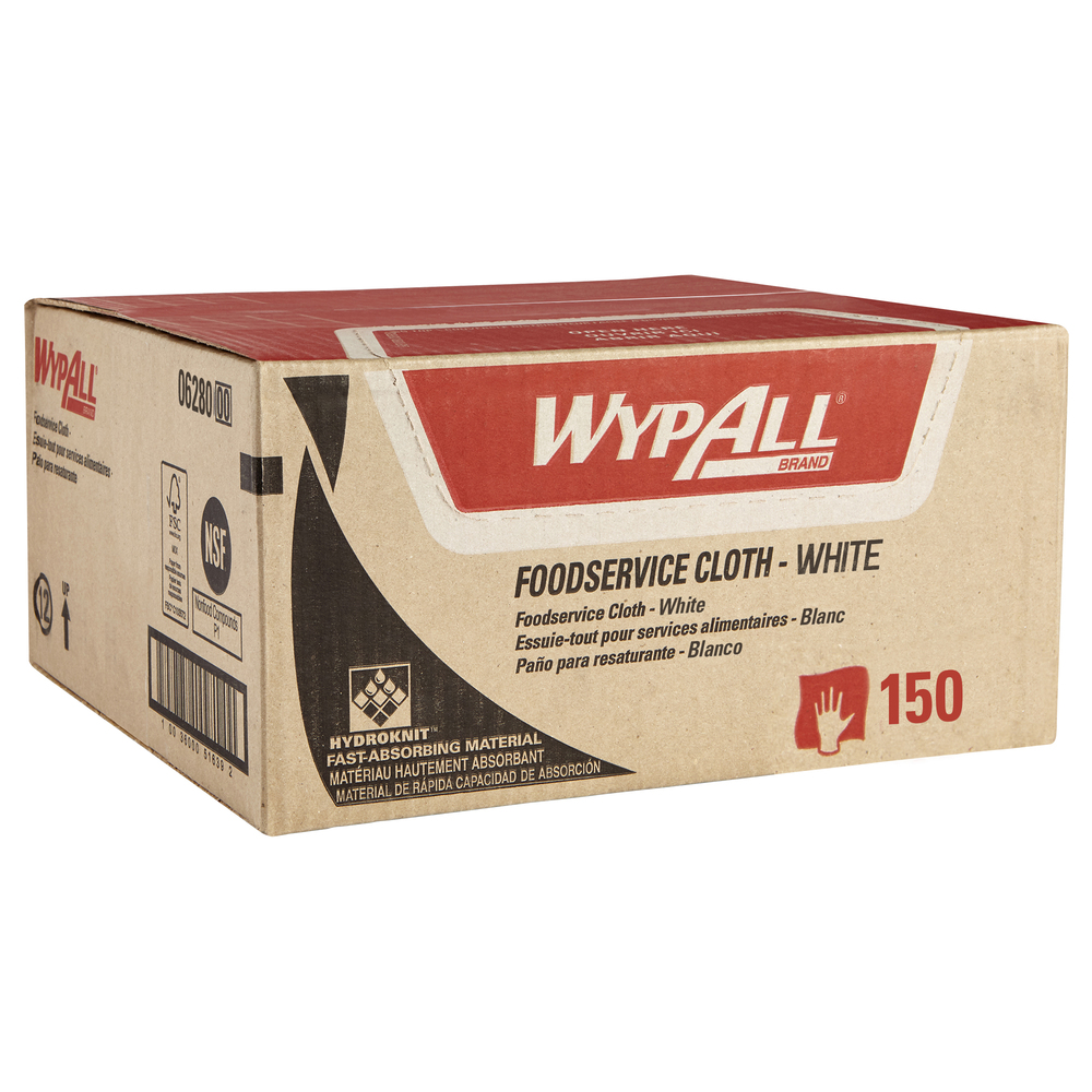 WypAll® X80 Foodservice Towels (06280) Extended Use Cloths with Anti-Microbial Treatment, White, 1 Box, 150 Sheets - 06280
