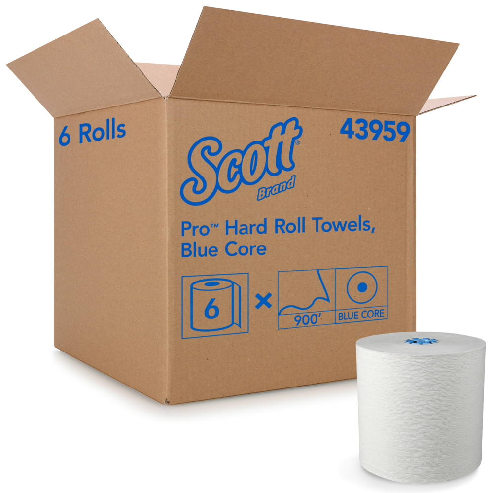 Scott® Pro Hard Roll Paper Towels (43959), with Absorbency Pockets, for Dispenser, 900' / Roll, 6 Rolls / Case, 5,400 feet - 43959