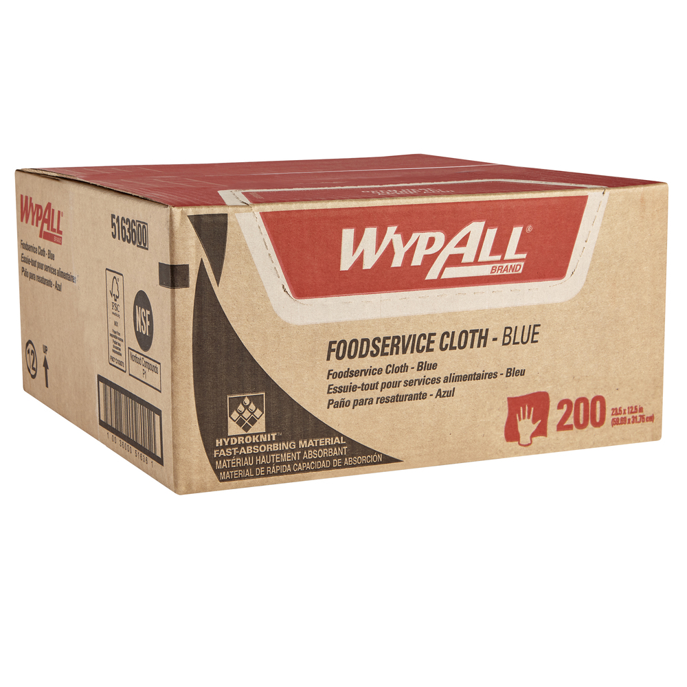 WypAll Foodservice Extended Use Reusable Cloths (51636), Quarterfold, Blue Cloths, 1 Box, 200 Sheets