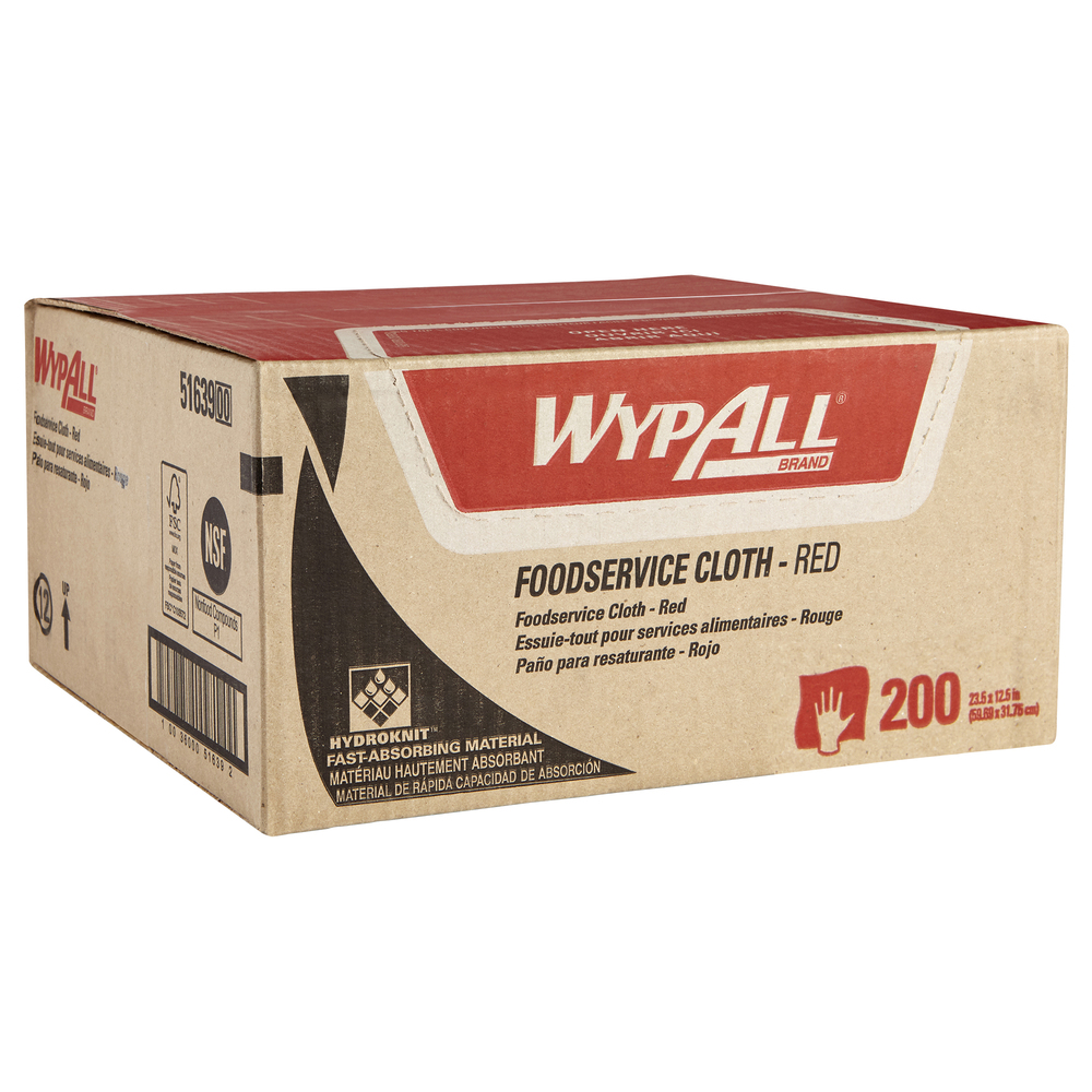 WypAll Foodservice Extended Use Reusable Cloths (51639), Quarterfold, Red Cloths, 1 Box, 200 Sheets - 51639