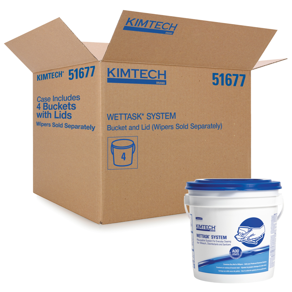 Kimtech Prep Bucket for the WetTask Wiping System (51677), 4 Buckets with Lids / Case - 51677