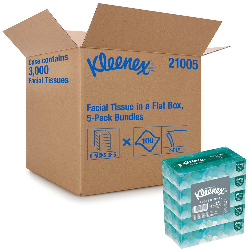Kleenex® Facial Tissue (21005), Flat Tissue Boxes, 6 Bundles / Case, 5 Boxes / Bundle, 100 Tissues / Box