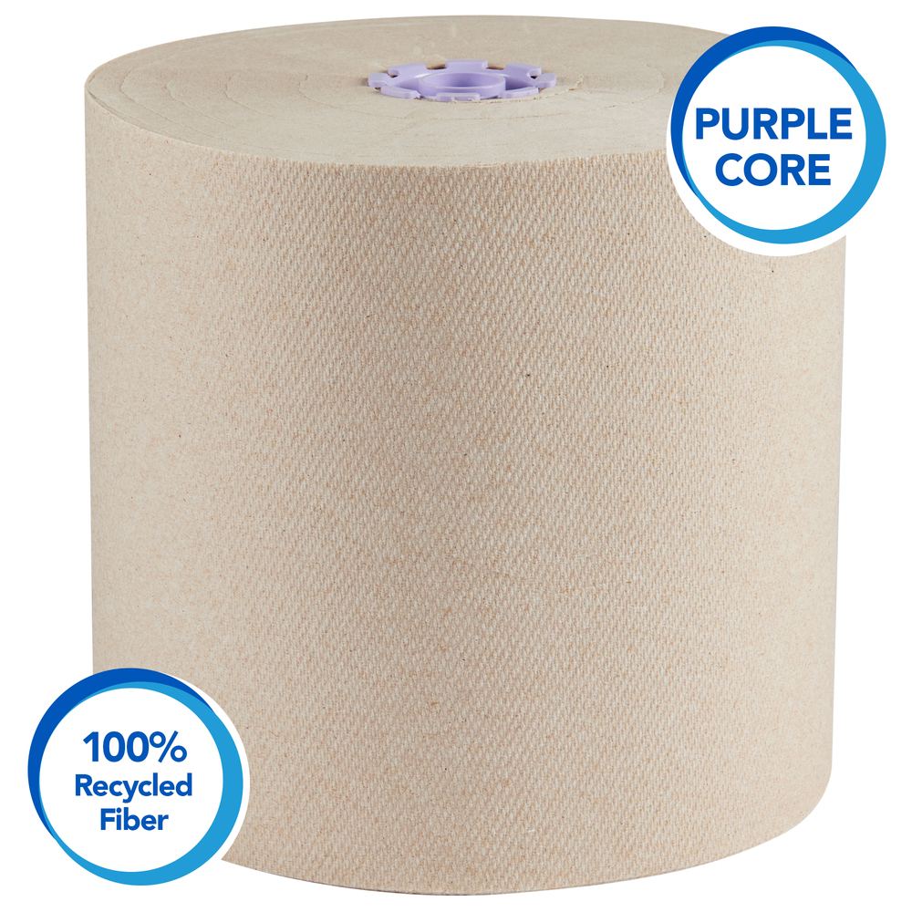 Scott® Essential 100% Recycled Brown Roll Towel (54038), with Absorbancy Pockets™, Purple Core, 700' / Roll, 6 Rolls/Case, 4,200 Sheets/Case - 54038