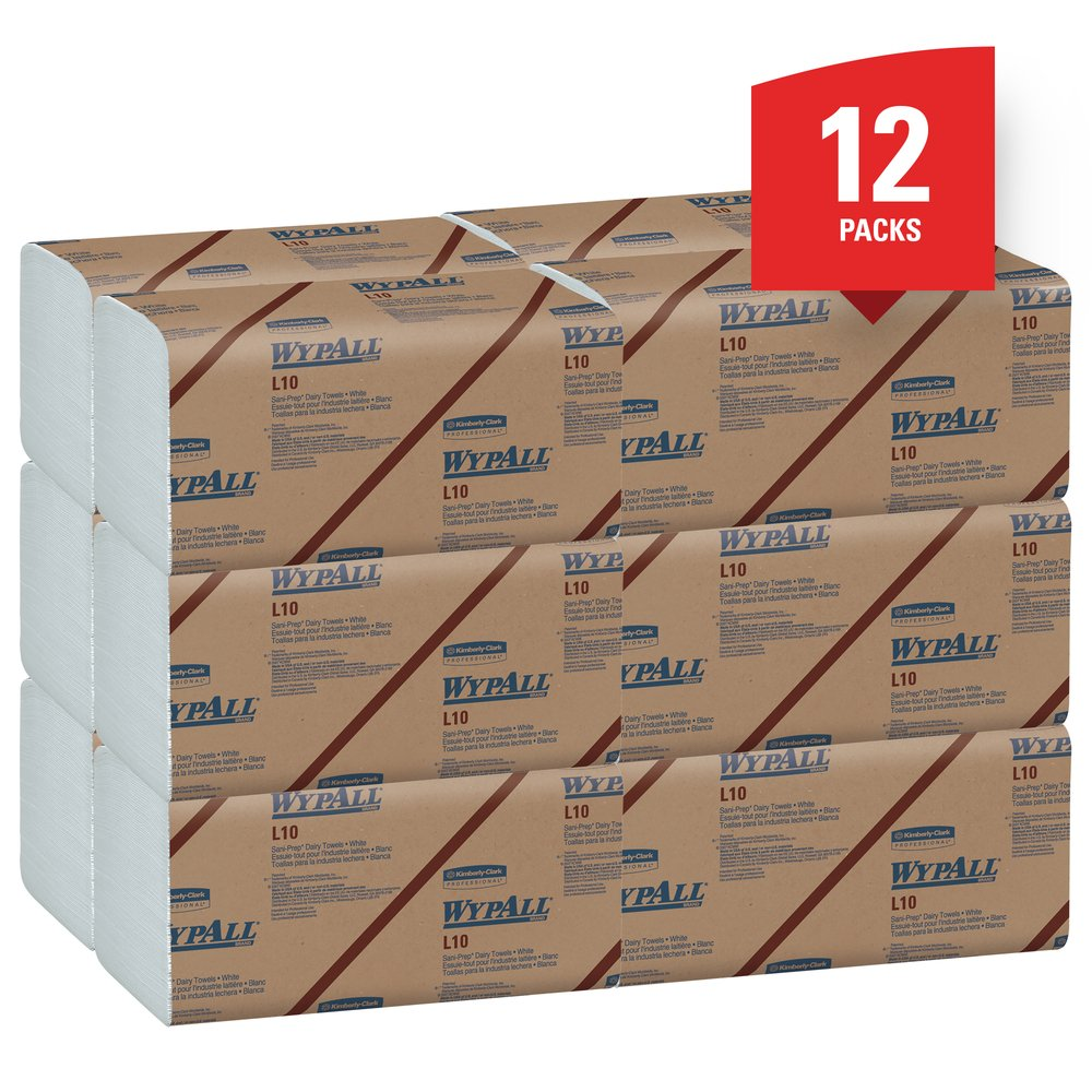 WypAll® L10 Disposable Towels (01770), Dairy Towels, 1-PLY, Banded, White, 12 Packs / Case, 200 Wipes / Pack, 2,400 Sheets / Case - 01770