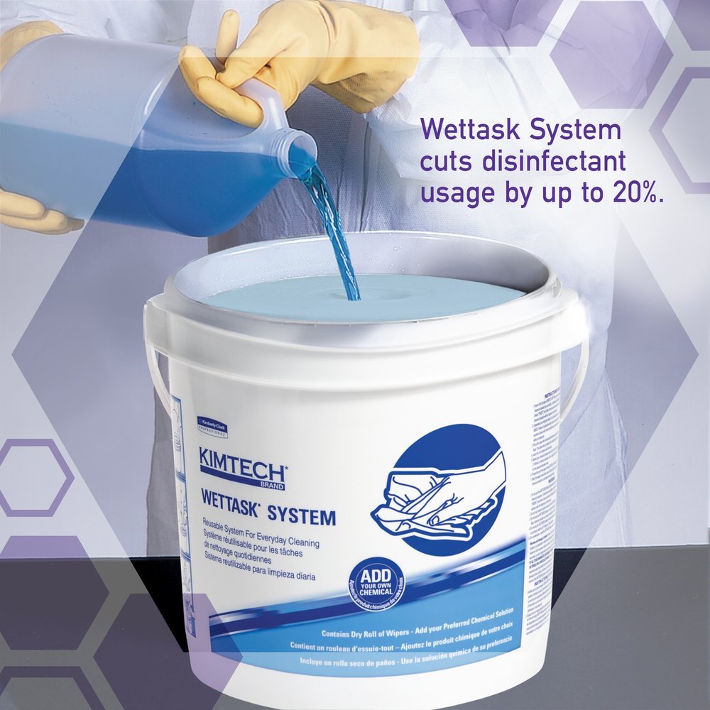 Kimtech™ WetTask System Prep Wipers for Bleach, Disinfectants and Sanitizers (06411), Hygienic Enclosed System, 6 Rolls/Case, 140 Sheets/Roll, Bucket Included - 06411