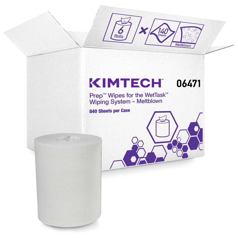 Kimtech™ WetTask System Prep Wipers for Bleach, Disinfectants and Sanitizers (06471), Hygienic Enclosed System Refills, 6 Rolls/Case, 140 Sheets/Roll