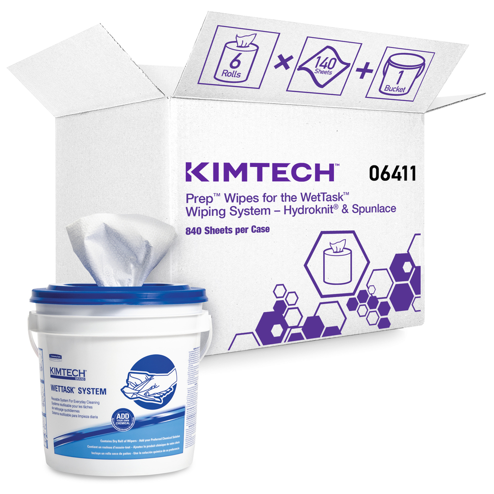 Kimtech™ WetTask System Prep Wipers for Bleach, Disinfectants and Sanitizers (06411), Hygienic Enclosed System, 6 Rolls/Case, 140 Sheets/Roll, Bucket Included