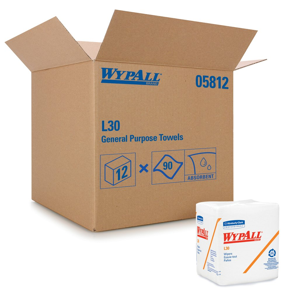 WypAll® L30 DRC Towels (05812), Strong and Soft Wipes, White, 12 Packs / Case, 90 Towels / Pack