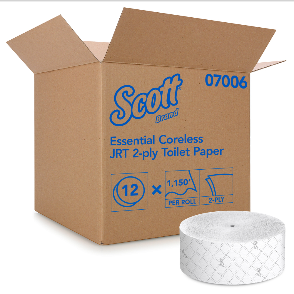 Scott Essential Jumbo Roll Coreless Toilet Paper (07006), 2-PLY, White, 12 Rolls / Case, 1,150' / Roll