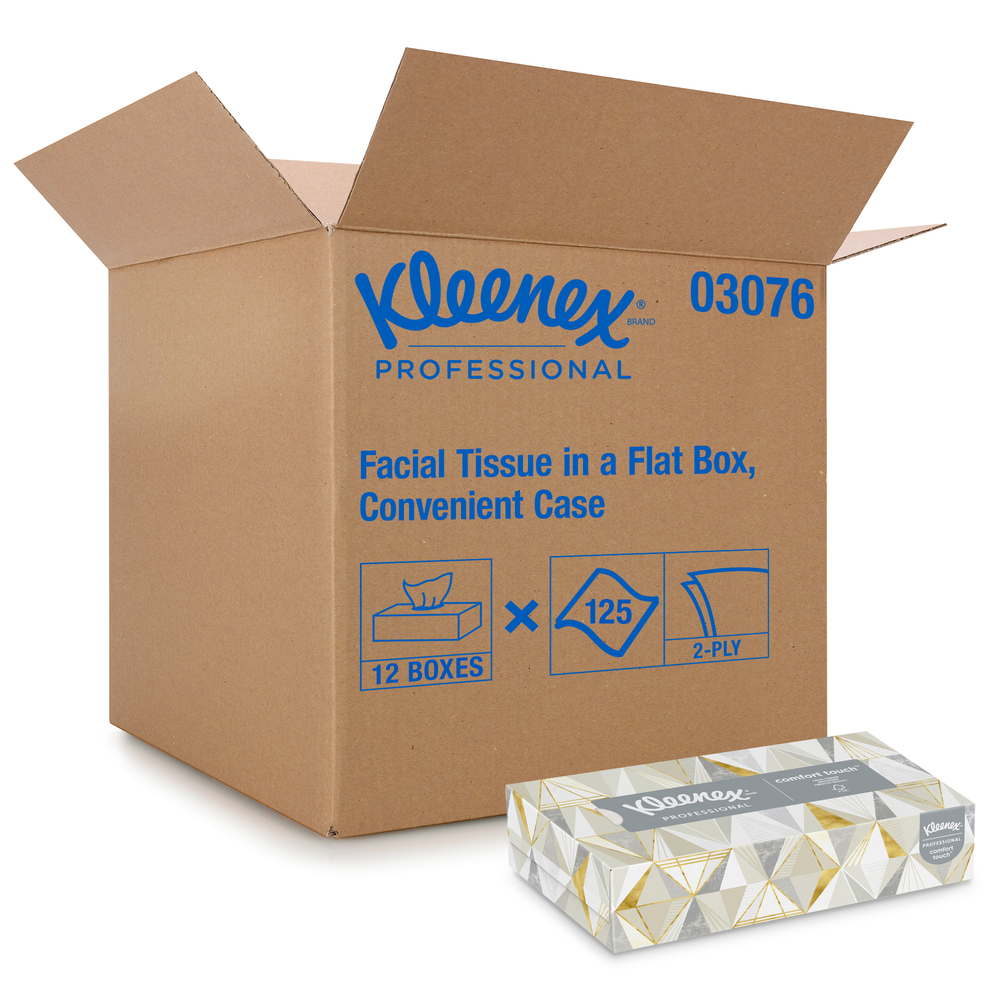 Kleenex® Professional Facial Tissue for Business (03076), Flat Tissue Boxes, 12 Boxes / Convenience Case, 125 Tissues / Box