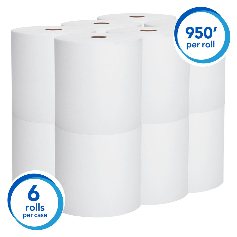 "Scott® Essential High Capacity Hard Roll Paper Towels (02000), 1.75"" Core, White, 9500' / Roll, 6 Rolls / Convenience Case, 5,700' / Case"