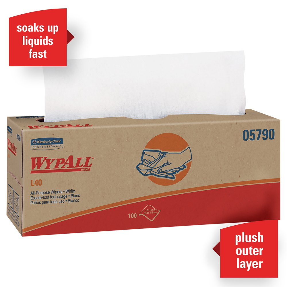 WypAll® L40 Disposable Cleaning and Drying Towels (05790), Limited Use Towels, White, 9 Pop Up Boxes per Case, 100 Sheets per Box, 900 Sheets Total - 05790