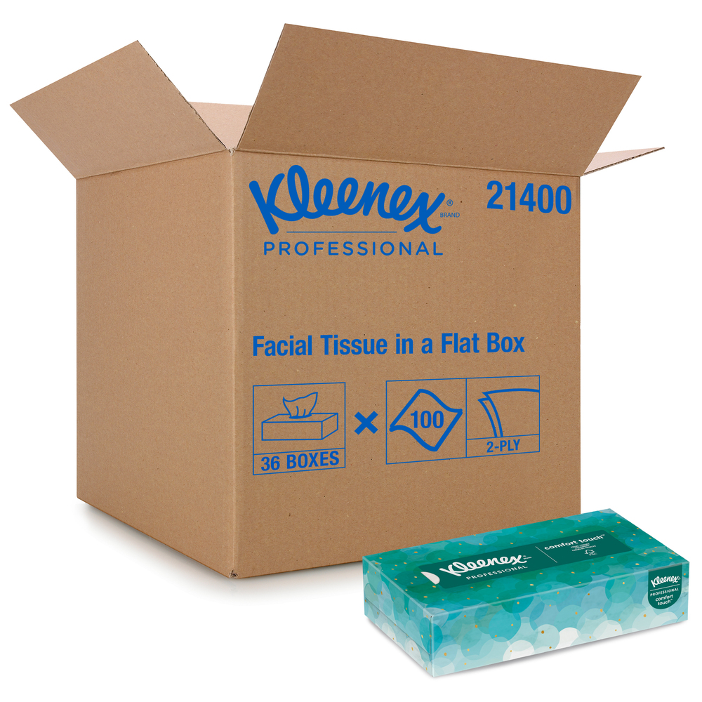 Kleenex® Professional Facial Tissue for Business (21400), Flat Tissue Boxes, 36 Boxes / Case, 100 Tissues / Box
