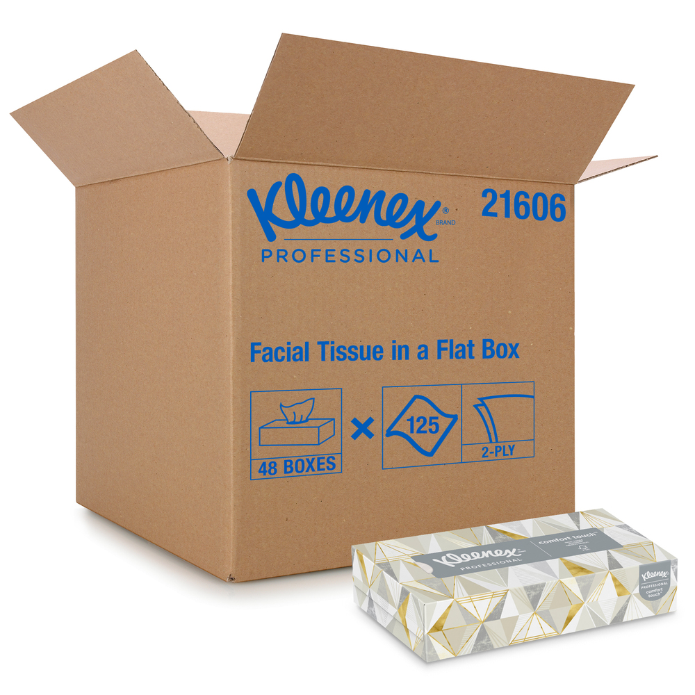 Kleenex® Professional Facial Tissue for Business (21606), Flat Tissue Boxes, 48 Boxes / Case, 125 Tissues / Box