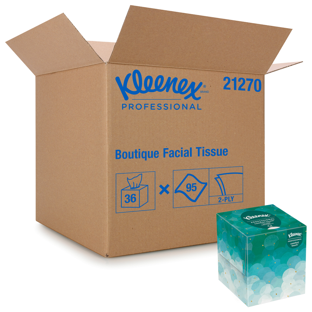 Kleenex® Professional Facial Tissue Cube for Business (21270), Upright Face Tissue Box, 36 Boxes / Case, 95 Tissues /Box, 3,420 Tissues / Case