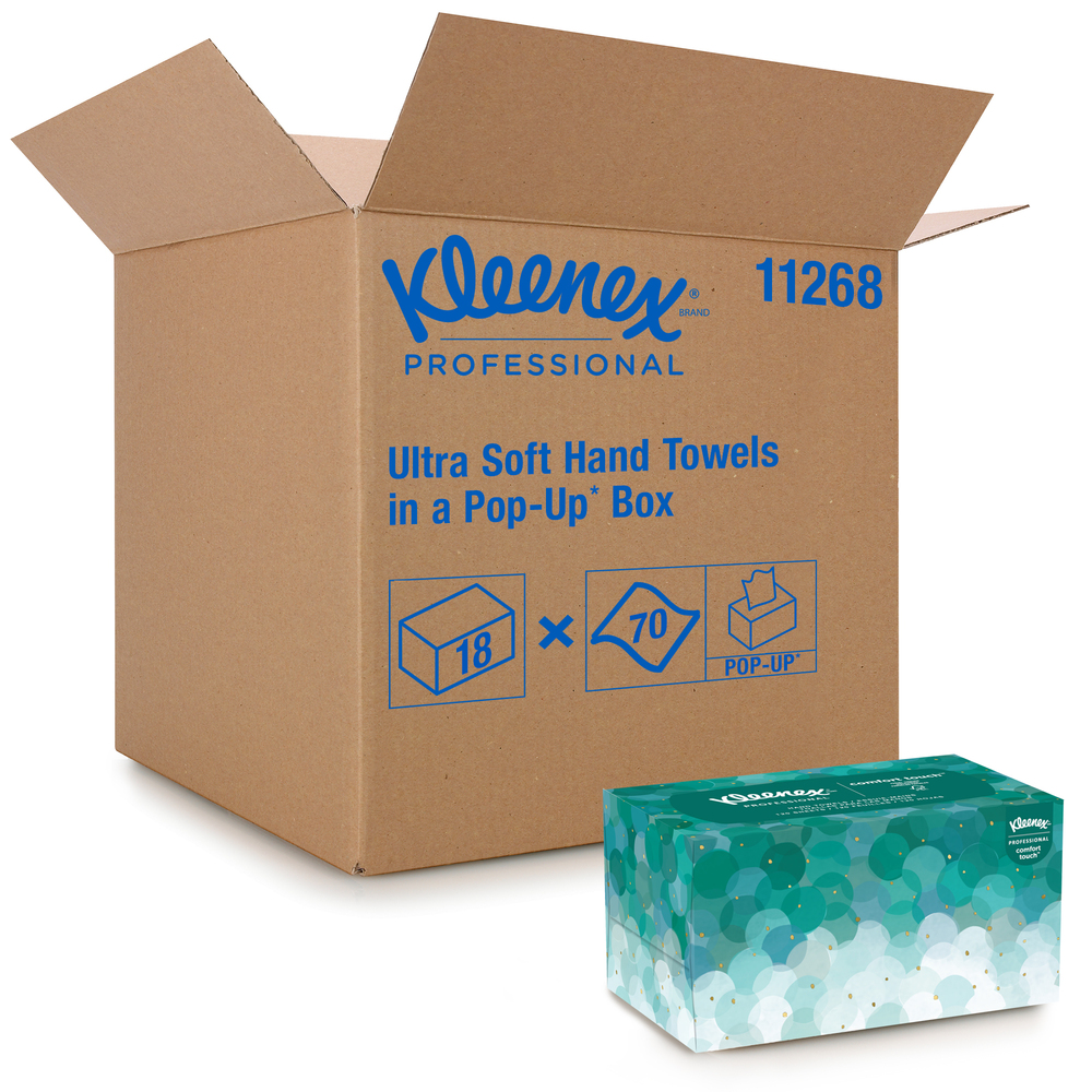 Kleenex® Hand Towels (11268), Ultra Soft and Absorbent, Pop-Up Box, 18 Boxes / Case, 70 Paper Hand Towels / Box, 1,260 Sheets / Case - 11268