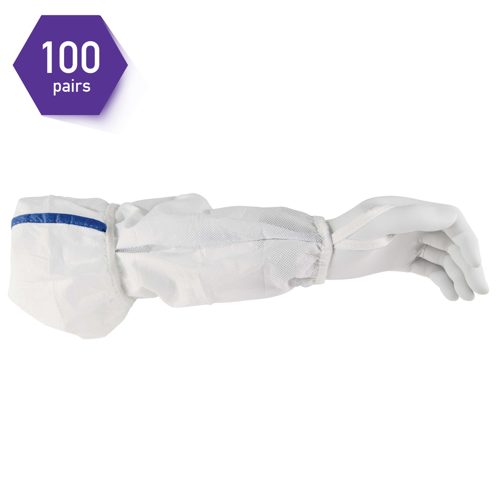 "Kimtech™ A5 Sterile Sleeve Protector (36077), 18"", Thumb Loop, Clean-Don Technology, White, 100 Pairs / 200 Each / Case"
