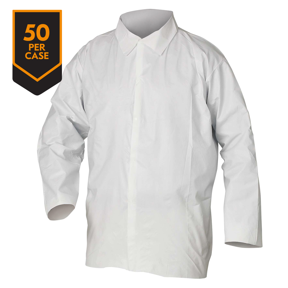 KleenGuard™ A20 Breathable Particle Protection Shirts (36212), 5 Snap Closures, Serged Seams, Hip Length, Open Wrists, White, Medium, 50 / Case - 36212