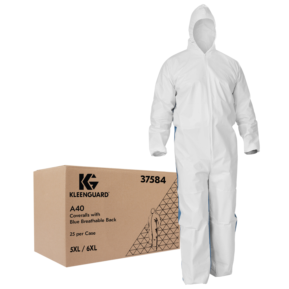 KleenGuard™ A40 Liquid & Particle Protection Coveralls (37584) with Blue Breathable Back, Zipper Front, Hood, EWA, White, 5XL/6XL, 25 / Case - 37584