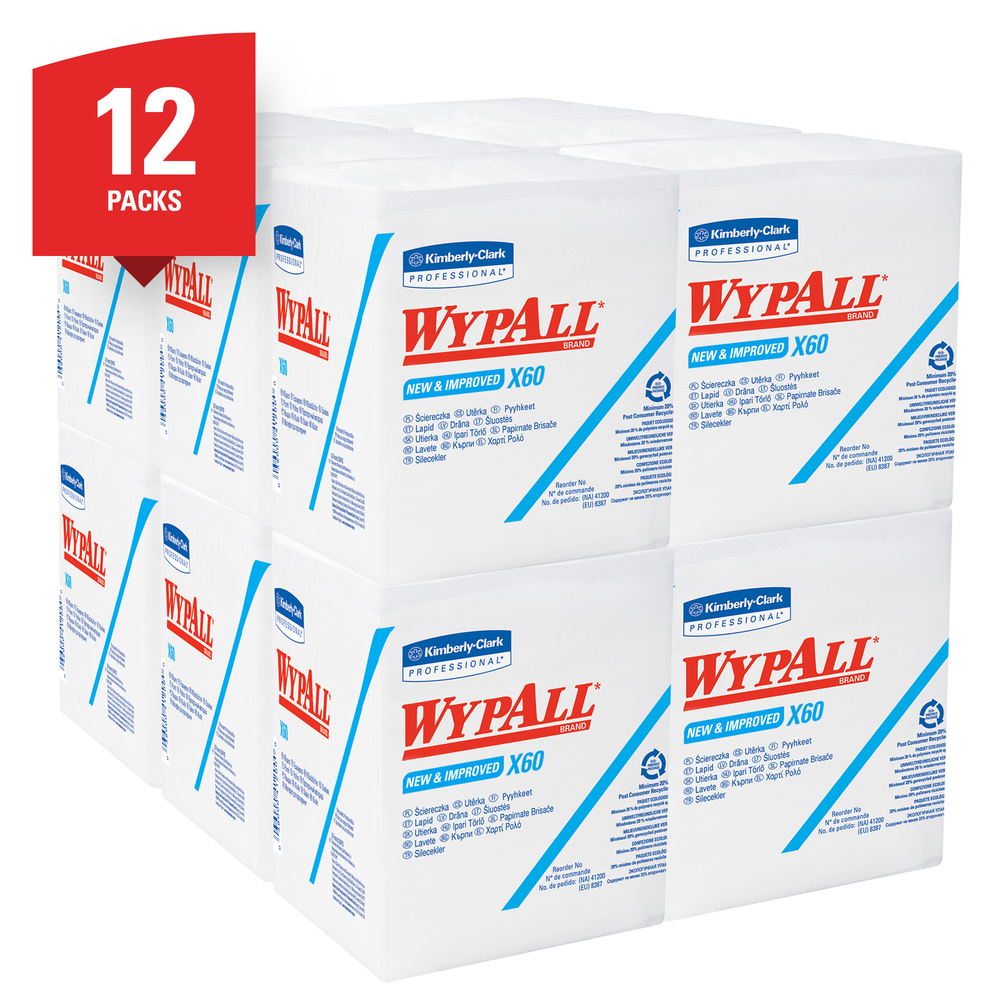 WypAll® X60 Reusable Cloths (34865) Quarterfold Washcloths, White, 76 Sheets / Pack, 12 Packs / Case, 912 Washcloths / Case - 34865