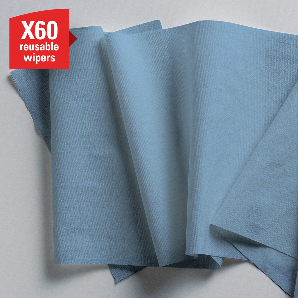 WypAll® X60 Reusable Cloths (35411), Blue, Roll, 130 Sheets / Roll, 12 Rolls / Case, 1,560 Wipes / Case - 35411