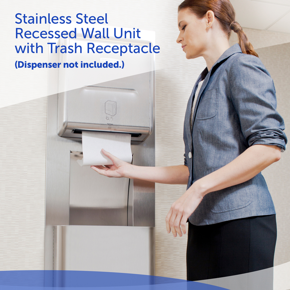 Scott® Pro Stainless Steel Recessed Wall Unit with Trash Receptacle - 35370