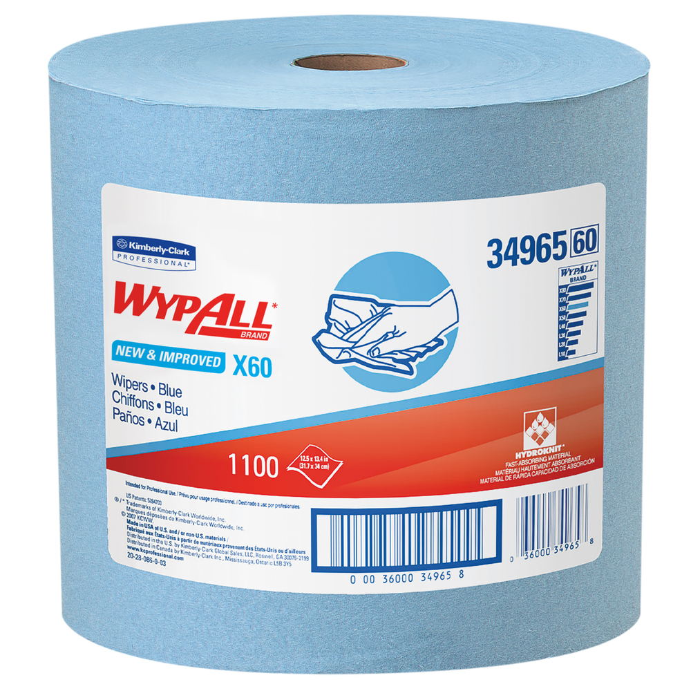 WypAll® X60 Reusable Cloths (34965), Blue, Jumbo Roll, 1100 Sheets / Roll, 1 Roll / Case - 34965
