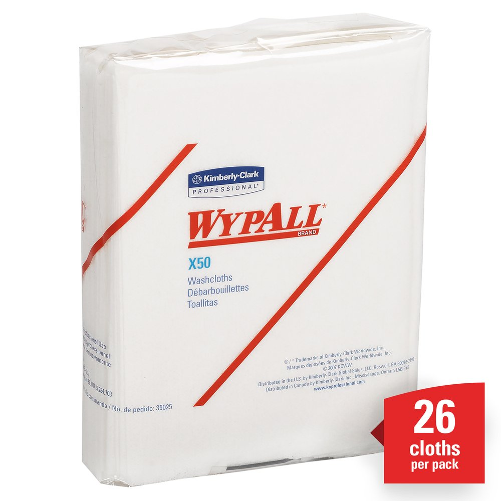 WypAll® X50 Disposable Cloths (35025), Strong for Extended Use, Quarterfold, White, 32 Packs / Case, 26 Sheets / Pack, 832 Sheets / Case - 35025