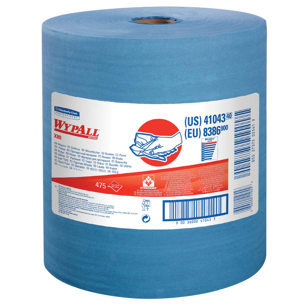 WypAll® X80 Reusable Wipes (41043), Extended Use Cloths Jumbo Roll, Blue, 475 Sheets / Roll; 1 Roll / Case - 41043