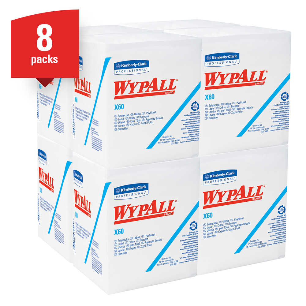 WypAll® X60 Washcloths (41083) with Hydroknit, 12.5 x 10, White, Quarterfold, 8 Packs / Case, 70 Sheets / Pack - 41083